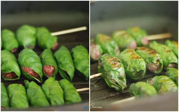 Мясные котлетки в базиликовых листьях