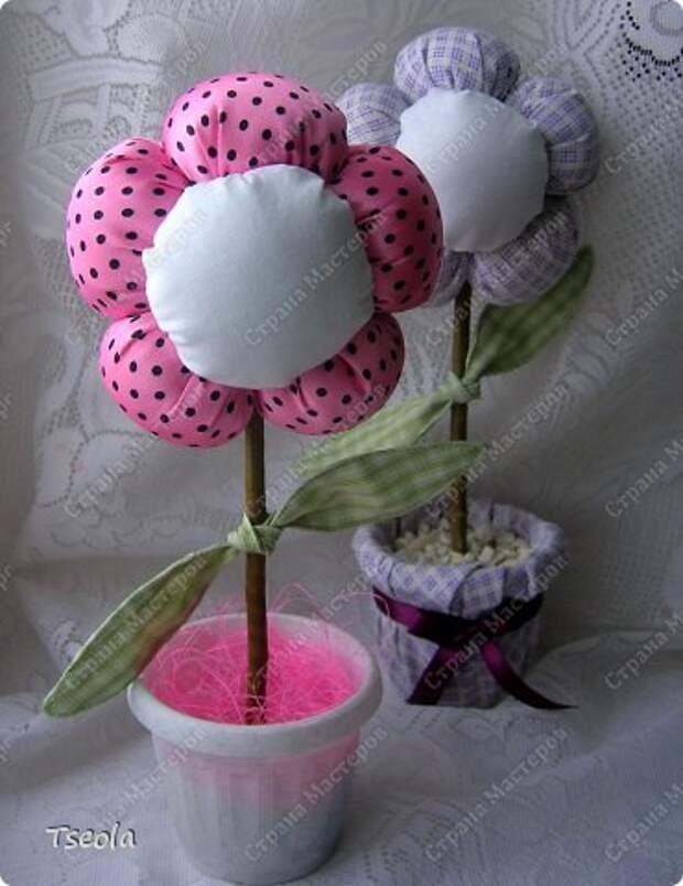 Бонсай топиарий Мастер-класс 8 марта Шитьё Цветок из ткани Гипс Ткань фото 14
