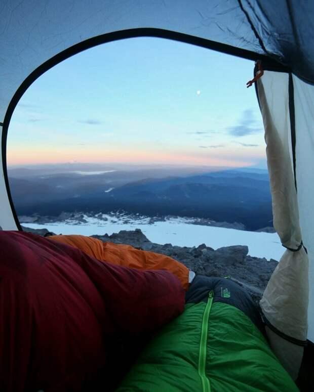 Вулкан Худ (штат Орегон, США). альпинизм, горы, зима, палатка, пейзаж, рассвет, снег, туризм
