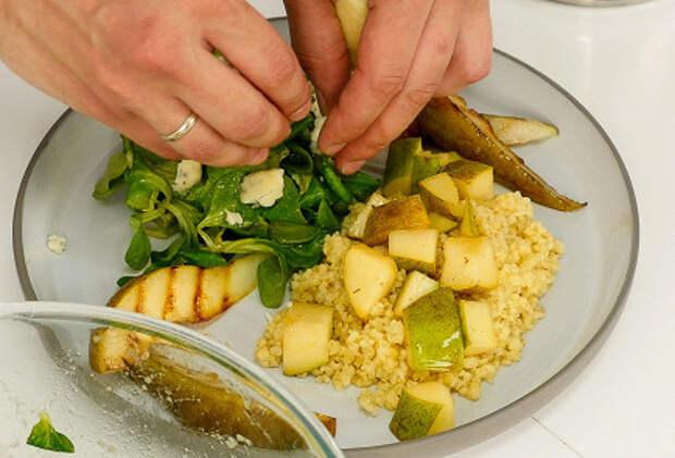 САЛАТНЫЙ ДЕНЬ. Салат с печеной грушей, корном и булгуром