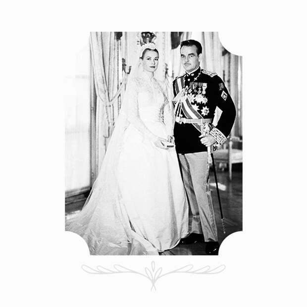 Грейс Келли в платье от Хелен Роуз, костюмера MGM, и князь Монако Ренье III