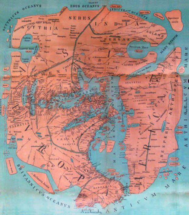 Воссозданная современными исследователями карта Помпония Мелы.