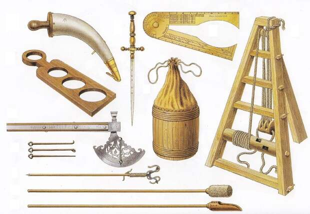 """Артиллерийские """"штучки"""" XVII века. Роскошный офицерский стилет - не просто оружие, на клинок нанесены деления: приставил его сначала к стволу, затем к ядру - подобрал правильный размер для этого орудия. Бочонок - для доставки пороха к орудию. Алебарда со шкалой - тот же рычаг (древко вставляли в скобы, угол наводки определяли по шкале на дуге и на древке). Справа - трехножный подъем (вместо домкрата) для поднятия орудия над лафетом. Также тут изображены: пороховница, деревянная мерка, кронциркуль, протравники, пальник, банник и """"черпак"""" для загрузки пороха в орудие. Иллюстратор: Brian Delf"""