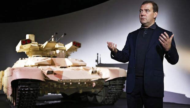 Дмитрий Медведев на презентации боевой машины огневой поддержки «Терминатор-2» на...