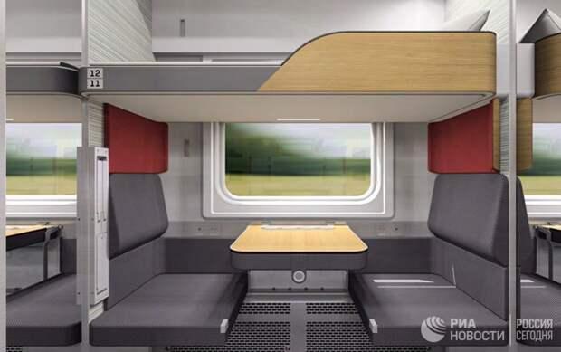 В РЖД показали концепт новых плацкартных вагонов