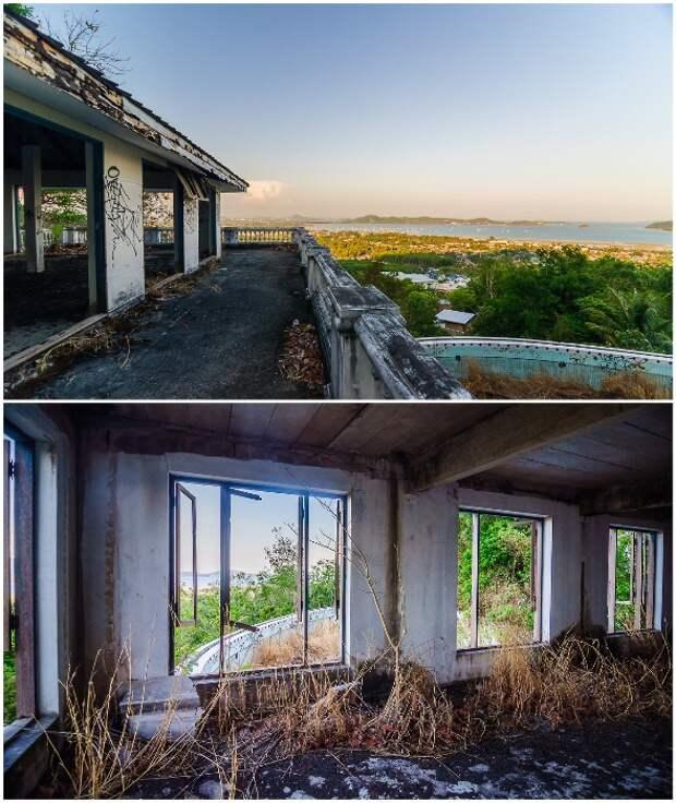 Заброшенный особняк губернатора на острове Пхукет практически разрушен и захвачен растительностью (Таиланд).