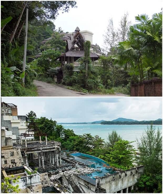 Огромные корпуса, бассейны, колоритные беседки и рестораны превращаются в жалкие руины (Phuket Peninsula Spa & Resor, Таиланд).