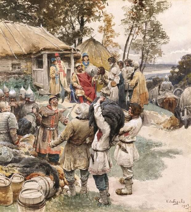 К. Лебедев, «Полюдье» (Князь Игорь собирает дань с древлян)