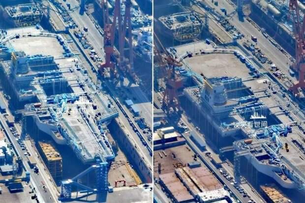 «Водоизмещение до ста тысяч тонн»: опубликованы новые изображения китайского авианосца Type 003