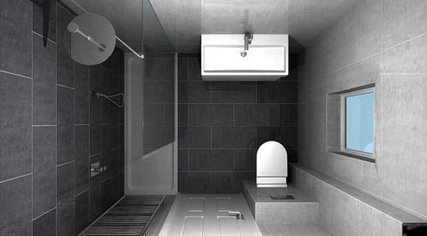 Очень стильное решение для интерьера душевой комнаты - кафель в холодном темно-сером цвете.