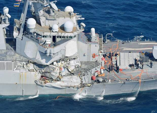 The Arleigh Burke-class guided-missile destroyer USS Fitzgerald is seen off Shimoda