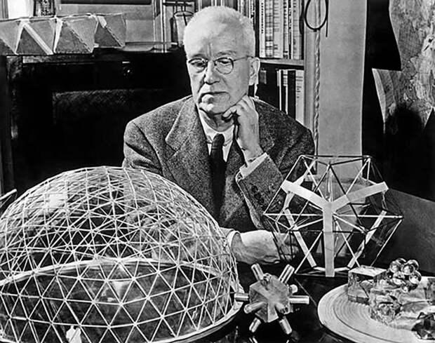 Наиболее известное открытие Фуллера – геодезическая сфера. Это ячеистая структура, состоящая из тетраэдров, которая становится тем крепче, чем больших размеров достигает.