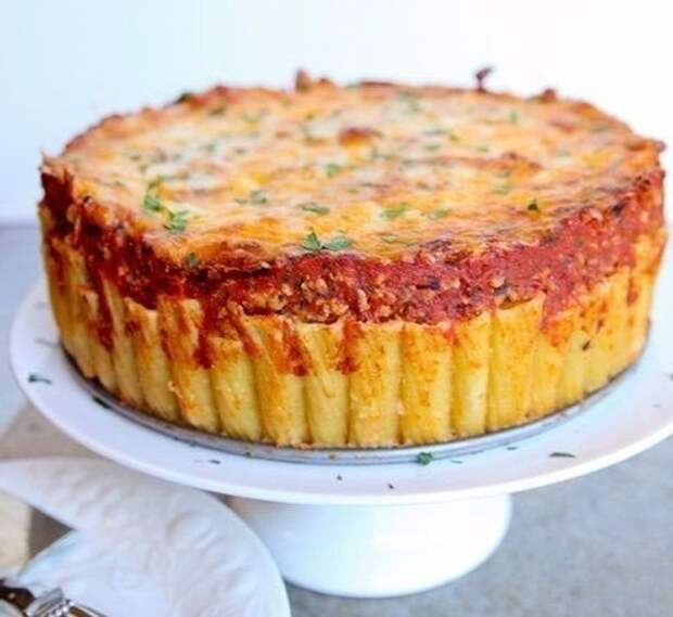 Итальянский пирог из макарон-рожков (ригатони)