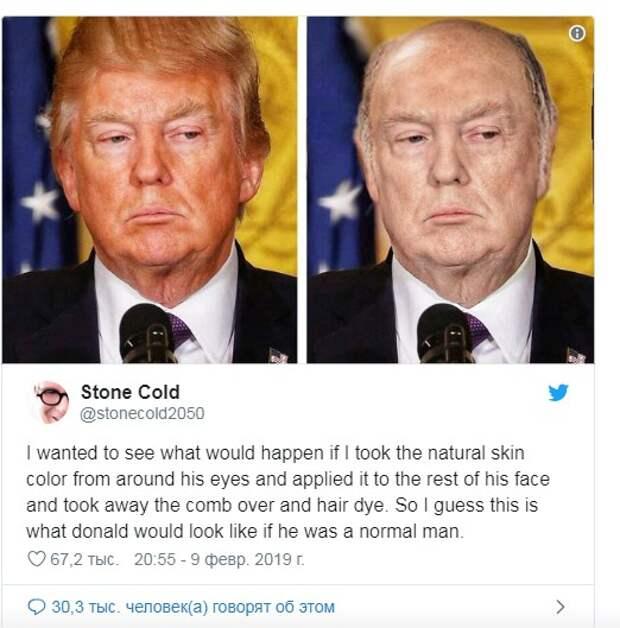 Лысый Трамп без загара: в Интернете высмеяли новый образ президента США