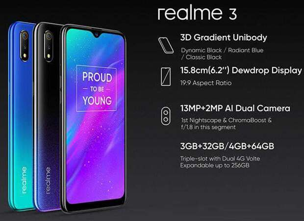 Экран смартфона OPPO Realme 3 занимает почти 90 % площади лицевой поверхности