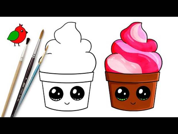 Как нарисовать ПИРОЖНОЕ, КЕКС, КЕКСИК / Раскраска мультик для детей КАВА...
