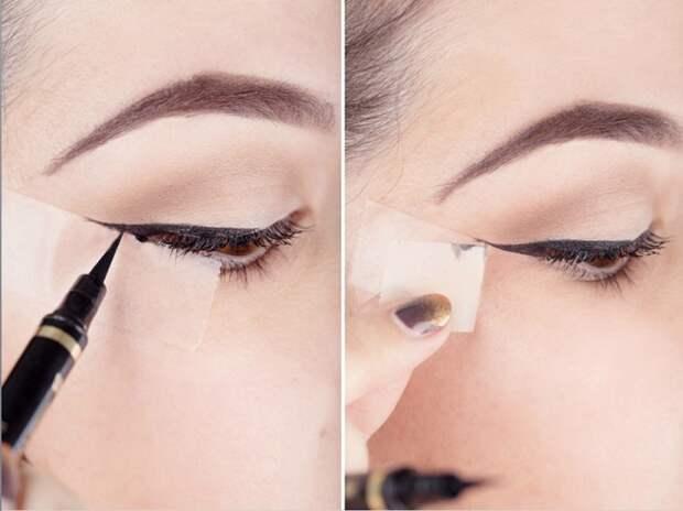 Как нарисовать идеальные стрелки, используя в макияже скотч.