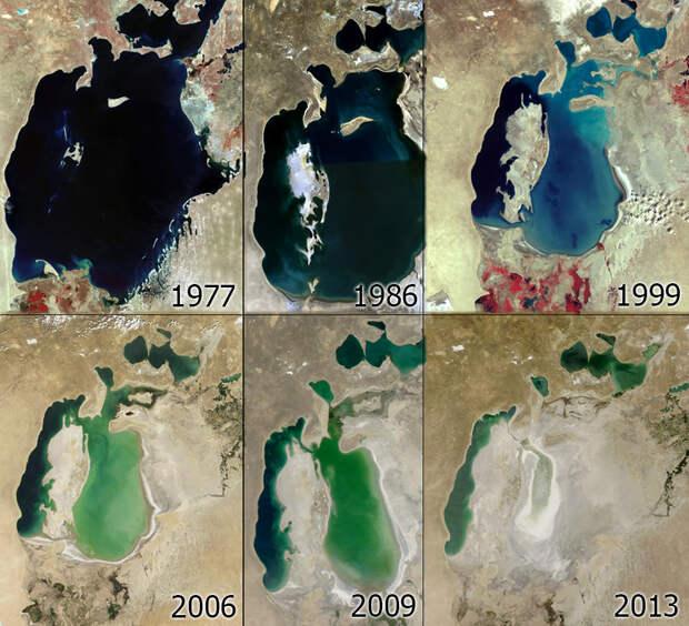 Процесс высыхания Аральского моря по годам