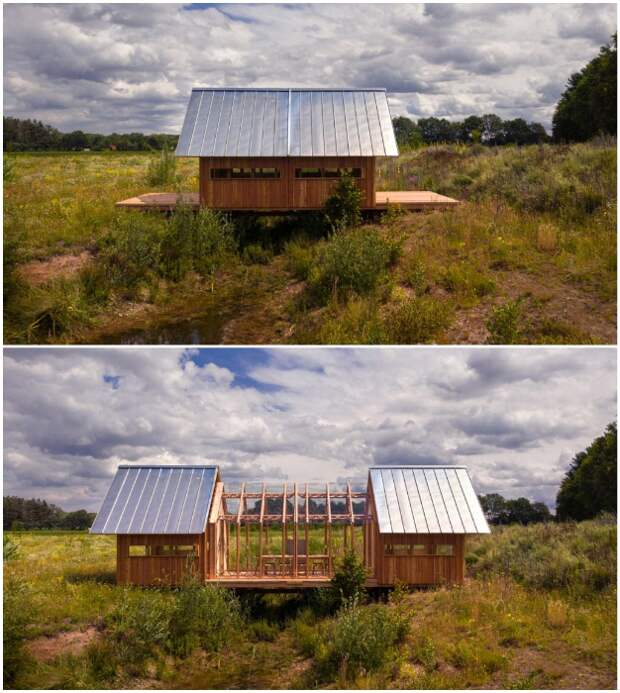 Обычный с виду деревянный домик легко превращается в многофункциональное жилое пространство, если раздвинуть его по центру (Cabin ANNA).