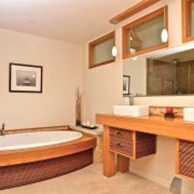 Деревянное оформление ванной в восточном стиле