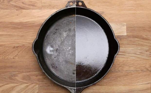 Достаем старую чугунную сковороду и за 2 часа превращаем в новую