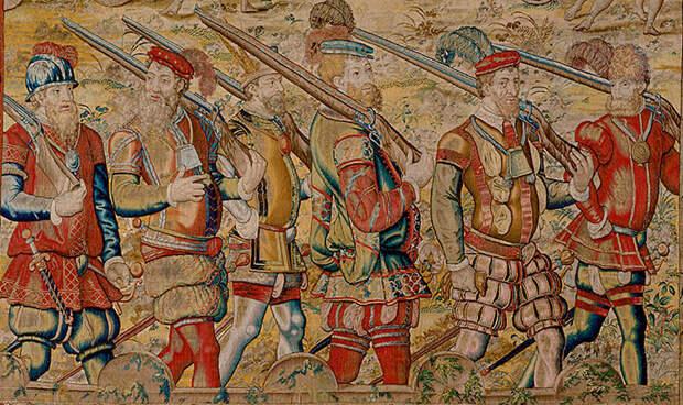 Португальские стрелки в Индии на параде в 1546 году. Фрагмент гобелена, изготовленного в Брюсселе в 1550‑х годах по рисункам неизвестного художника - Диу: финал осады | Warspot.ru