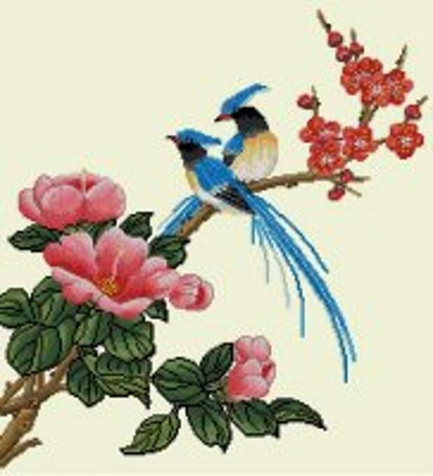 Птицы на цветущей ветке