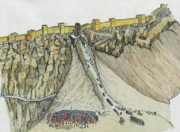 В ходе осады Масады римляне сделали земляной вал к самым стенам. |Фото: vk.com.