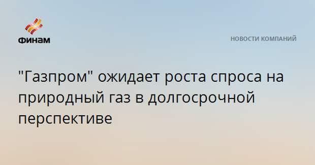 """""""Газпром"""" ожидает роста спроса на природный газ в долгосрочной перспективе"""