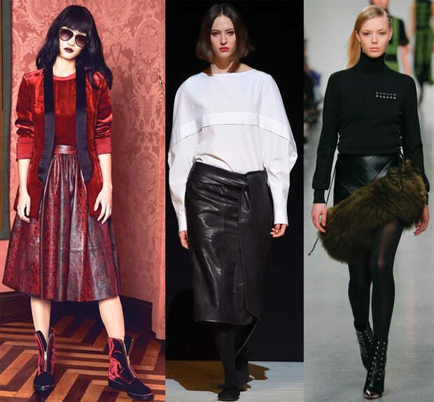 Короткие и длинные кожаные юбки