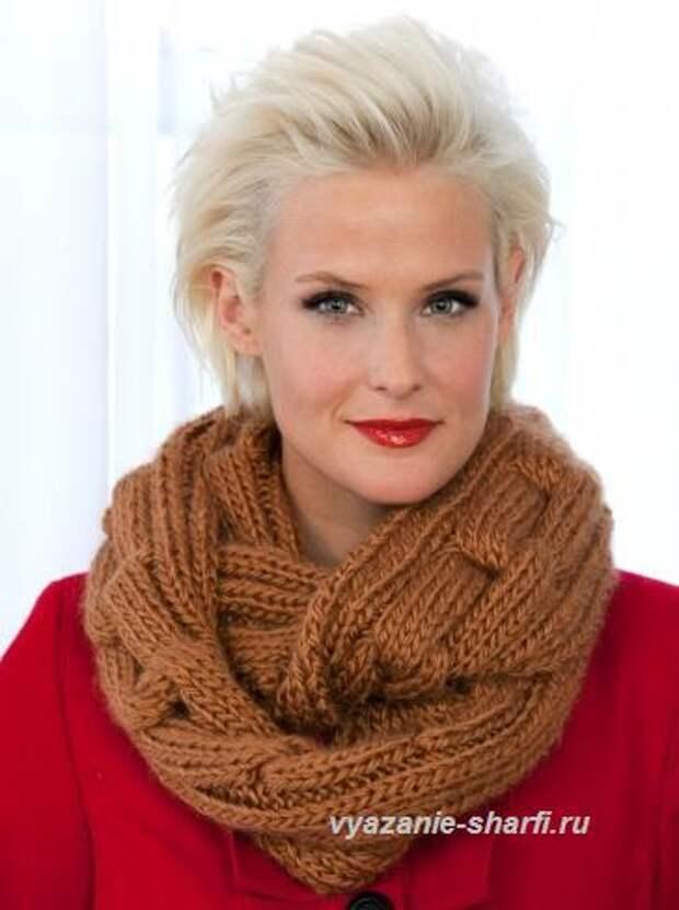 вязаный шарф хомут спицами с узором цепь