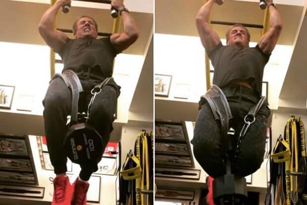 70-летний Сталлоне подтягивается так, что хочется все бросить и побежать в спортзал