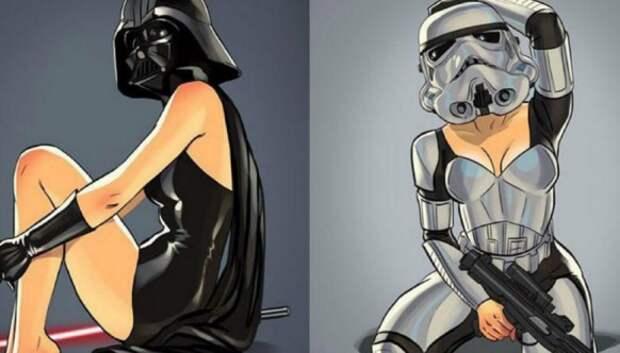 Русский художник изменил пол героев «Звездных войн» и нарисовал их в стиле пин-ап