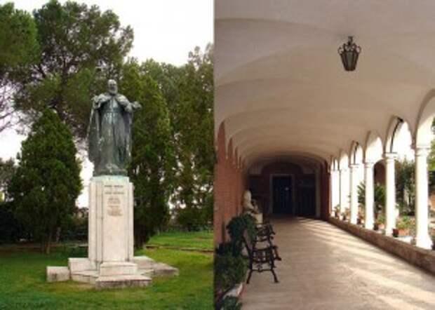 Слева,Памятник аббахайру Мхитару.Справа Внутренний двор монастыря