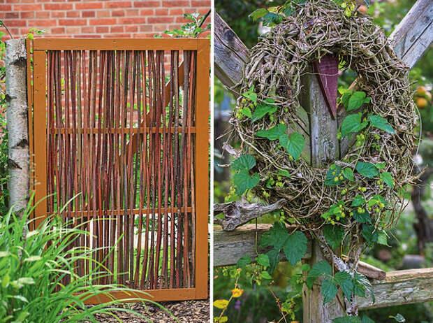 Слева: садовая калитка из стеблей ивы. Справа: венок из хмеля обыкновенного