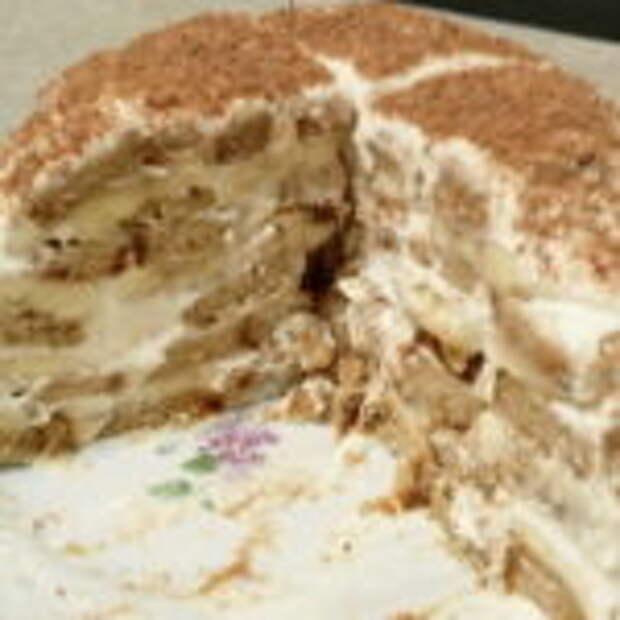 Торт без выпечки, из пряников, бананов и сметаны