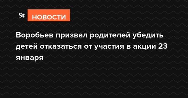 Воробьев призвал родителей убедить детей отказаться от участия в акции 23 января