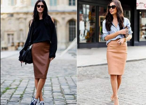 Идеальная кожаная юбка длины миди и ее великолепные сочетания с базовыми верхами на весну: изысканная мода 2021