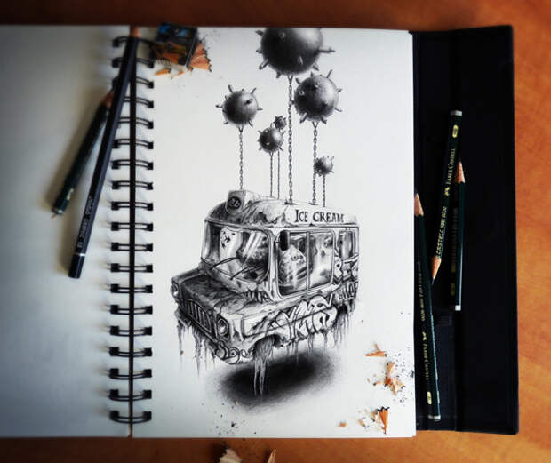 Потрясающие рисунки в блокноте