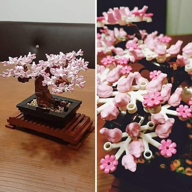 Цветки на бонсаи из Лего сделаны в форме маленьких розовых лягушек