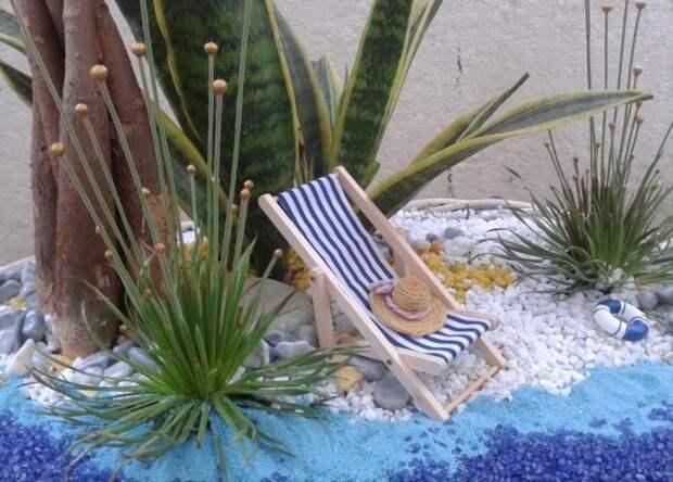 С помощью суккулентов легко можно создать пляж своей мечты в миниатюре.