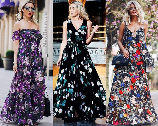 Платье в цветочный принт. Примеры на модных блогерах