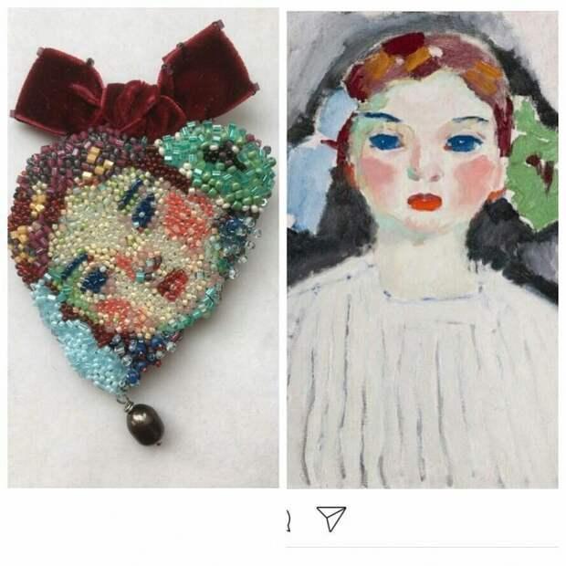 Бисерные броши со знаменитыми образами