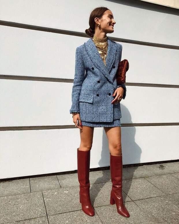 Модный костюм пиджак плюс юбка на зиму 2020-2021: тепло и женственно
