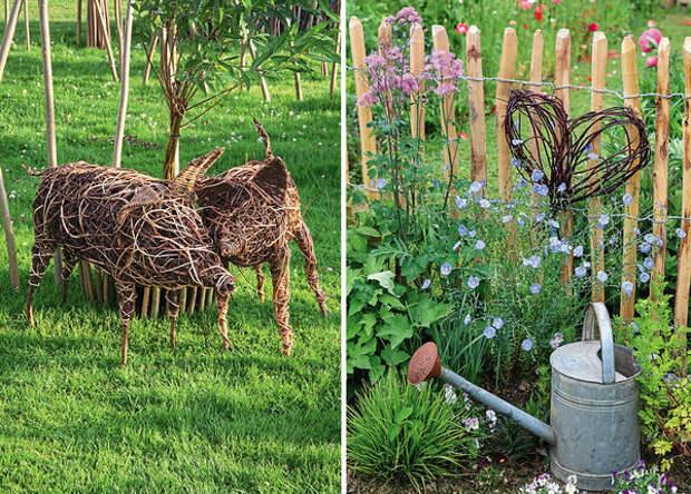 Слева: фигуры свинок сделаны из ивовой лозы и плетей лиан. Справа: рустикальный шарм отличает штакетник из кривоватых веток каштана. Такой забор органично дополняет сердечко, сделанное из тонких стеблей