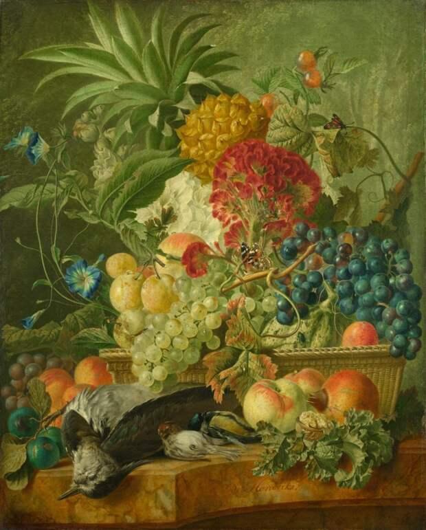 Wybrand Hendriks (June 24, 1744, Amsterdam – January 28, 1831, Haarlem) Фрукты, цветы и битая птица \ Fruit, Flowers and Dead Birds голландские натюрморты, живопись, искусство, красота, цветы