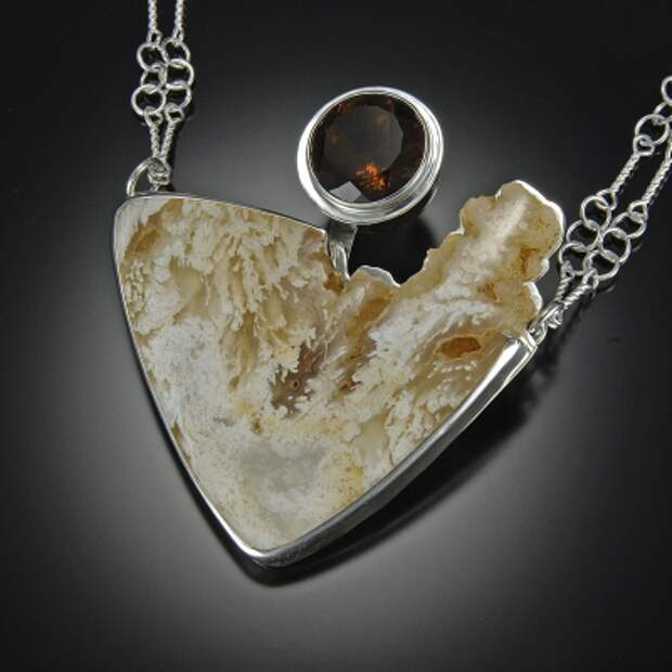 jewelry image of Plume Agate, Cognac Quartz, Sterling silver