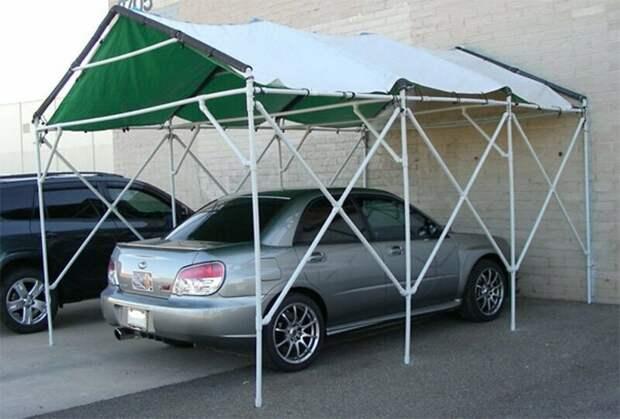 Навес для автомобиля (лишь бы ветер не подул) изобретательность, пвх, пвх-изыски, пвх-трубы, подборка, прикол, юмор