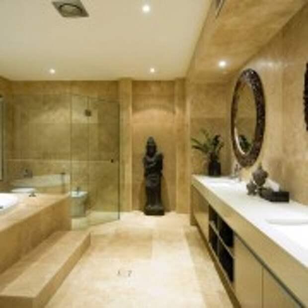 Ванная, облицованная плиткой