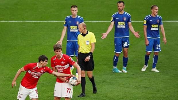 Судья за минуту отменил гол «Спартака» и назначил пенальти в его ворота. «Тамбов» победил в Москве 3:2